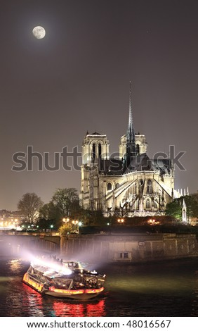 View of Notre-Dame at night - stock photo