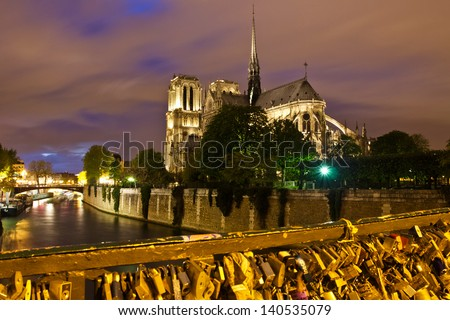 View of Notre Dame Cathedral at Night - stock photo
