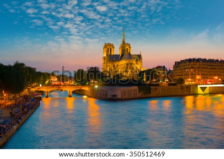 View of Notre Dame de Paris at a summer night - stock photo