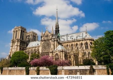 view of Notre Dame  in Paris - stock photo