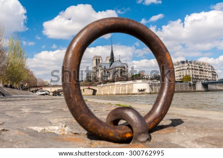 view of Notre Dame trough Ring for anchoring boats along the Seine river