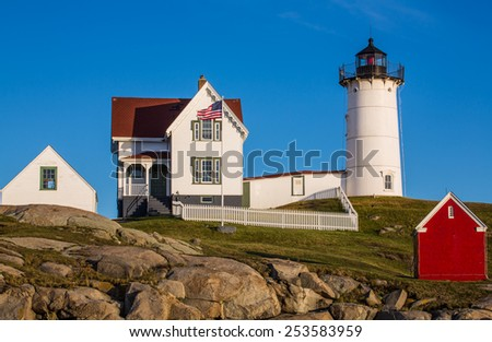 View of Nubble Lighthouse in Maine, USA. - stock photo