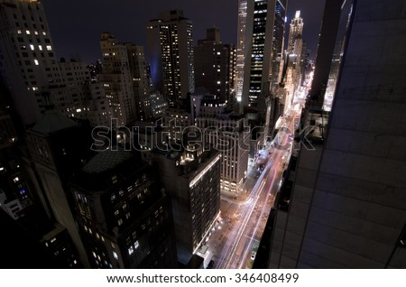 View of NYC from high up in the night