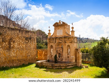 View of Nymphs fountain in Leonforte, Sicily. Italy - stock photo