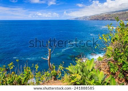 View of ocean and coast of Tenerife island in Puerto de la Cruz town, Spain - stock photo