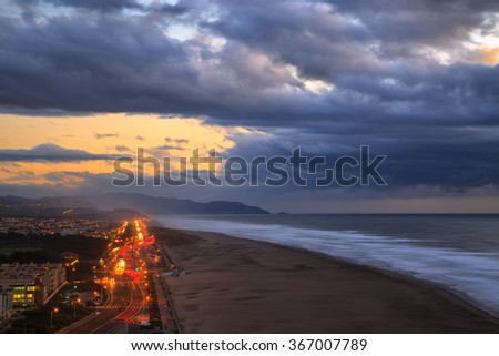 View of Ocean Beach and Great Highway in San Francisco, CA - stock photo