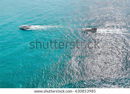 View of ocean with boats at Taejongdae cliff, Busan, South Korea.