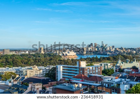 View of of Sydney, Australia showing the Opera House and harbor bridge - stock photo