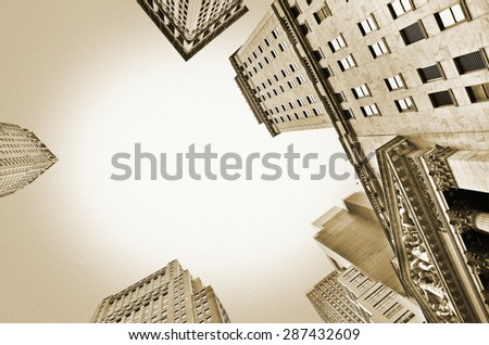 View of office buildings in the New York City with vintage style - stock photo