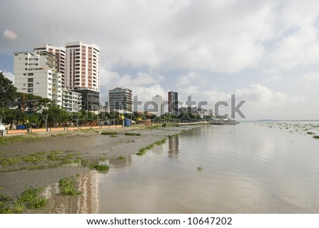 view of offices condominiums harbor and las penas from malecon 2000 historic district art center guayaquil ecuador - stock photo