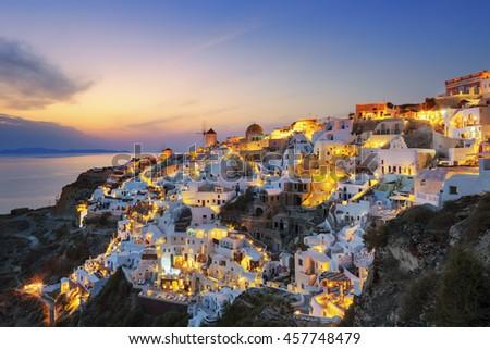 View of Oia at sunset, Santorini - stock photo