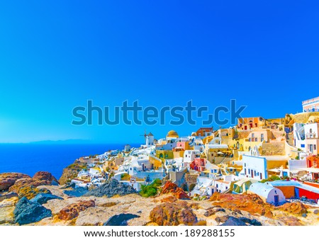 View of Oia the most beautiful village of Santorini island in Greece - stock photo
