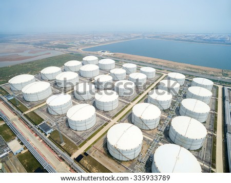 view of oil depot with towers - stock photo