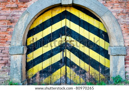View of old door, 18th century military style. - stock photo