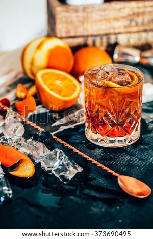 View of Old Fashioned cocktail - stock photo