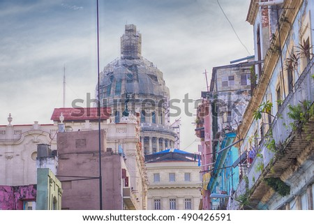 View of old Havana buildings with Capitol dome in the background