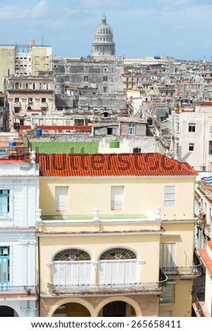 View of Old Havana with the Capitol building on the background - stock photo