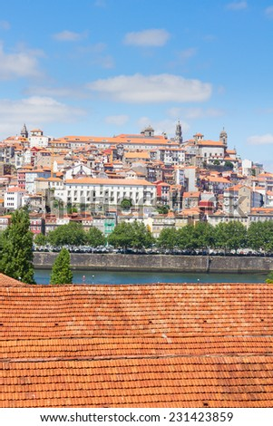 view of  old historic town of Porto at sunny day, Portugal - stock photo