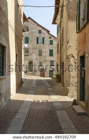 view  of old  houses and  street  in village of Sassello, inland Ligure, Italy