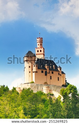 View of old medieval Marksburg castle - stock photo