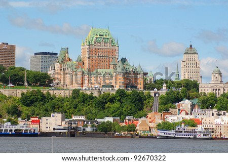 View of old Quebec and the Château Frontenac, Quebec, Canada. It was designated a National Historic Site of Canada during 1980. the site was the residence of the British governors of Lower Canada. - stock photo