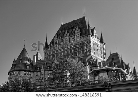 View of old Quebec and the Chateau Frontenac, Quebec, Canada - stock photo