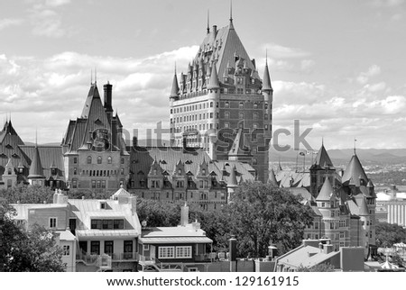 View of old Quebec and the Chateau Frontenac, Quebec, Canada. It was designated a National Historic Site of Canada during 1980. the site was the residence of the British governors of Lower Canada. - stock photo