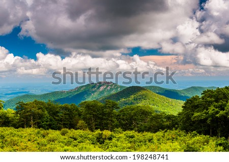 View of Old Rag Mountain from Thoroughfare Overlook in Shenandoah National Park, Virginia. - stock photo