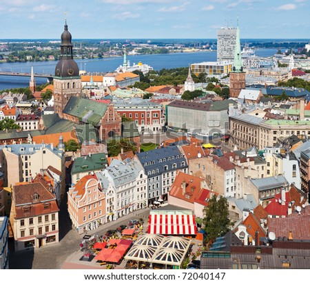 View of Old Riga from the St. Peter's Church, Riga, Latvia. - stock photo