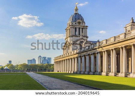 View of Old Royal Naval College (1873) building (UNESCO World Heritage Site) at sunset. Greenwich, London, UK - stock photo