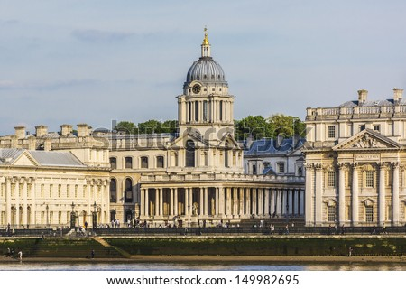 View of Old Royal Naval College (UNESCO World Heritage Site) at sunset, Greenwich, London, UK