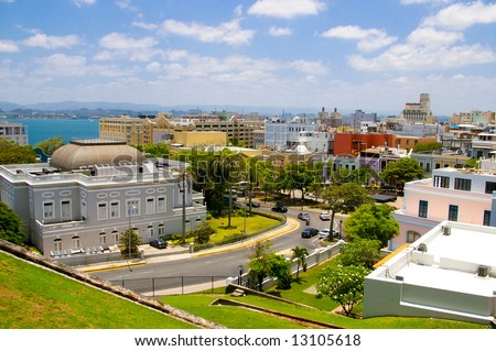 view of old san juan, in  puerto rico - stock photo
