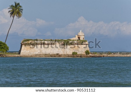 View of old stone fort with plants taking over the walls. - stock photo