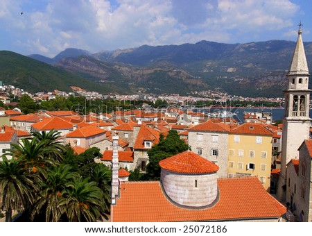 view of old town - stock photo
