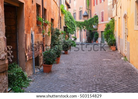 view of old town italian street in Trastevere, Rome, Italy