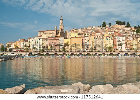 View of old town, Menton, Cote D'Azur, France - stock photo