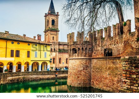 View of old town of Fontanellato and medieval Rocca Sanvitale castle, Emilia-Romagna, Italy.
