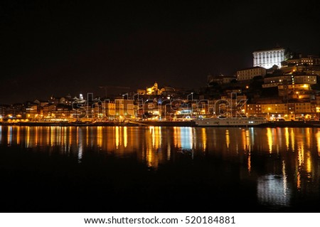 View of old town of Porto by night. Portugal.