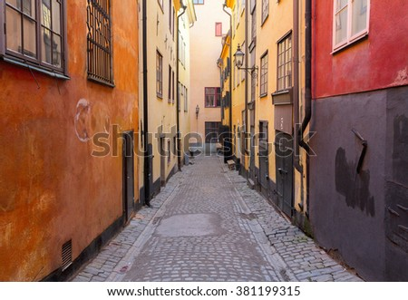 view of old town street in Stockholm, Sweden - stock photo
