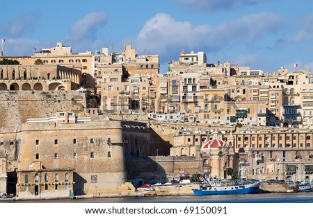 View of old Valletta from Grand Harbour. Malta - stock photo
