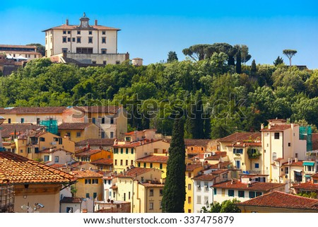 View of Oltrarno and Forte di Belvedere on the south bank of the River Arno, at morning from Palazzo Vecchio in Florence, Tuscany, Italy
