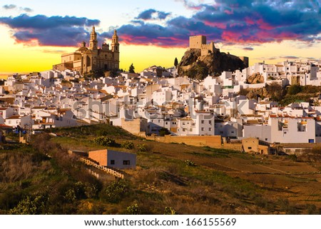 View of Olvera, one of the white villages of the province of Cadiz, Andalusia, Spain  - stock photo