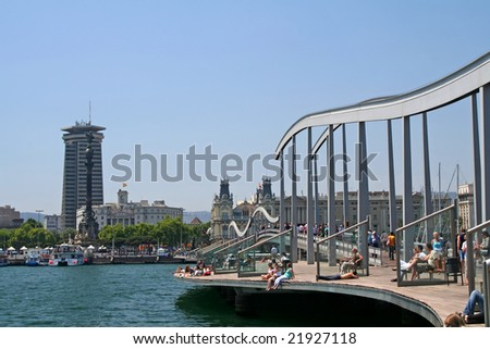 View of Olympic Port of Barcelona, Spain during summer - stock photo