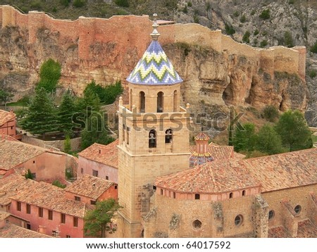view of one of the churches from the hill in albarracin in teruel in spain