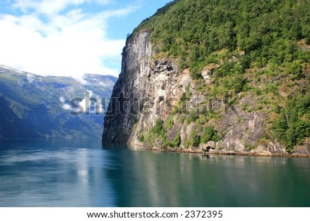 View of one of the Norwegian fjords - stock photo