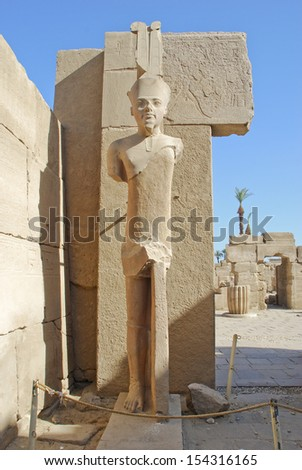 View of one of the statue at Karnak temple in Luxor - stock photo