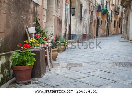 View of one typical street in Ortigia, the old part of Syracuse, and some ornamental flowered vases in the foreground  - stock photo