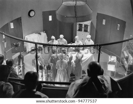 View of operating theater with spectators