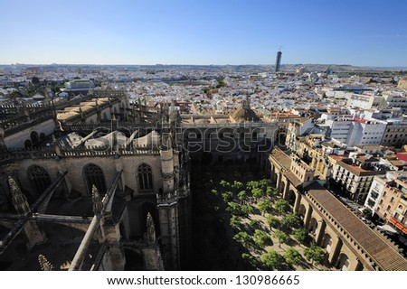 view of Orange Garden  from Giralda Tower of  the Cathedral of Seville, Seville, Spain