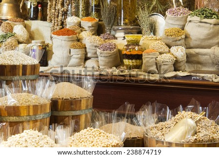 View of oriental Arabic spices put on wooden barrels on spice  - stock photo